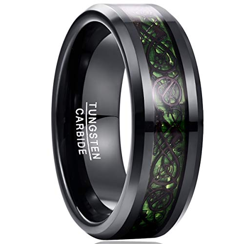 NUNCAD Engraved 'to My Soul Mate' Size' Tungsten Carbide Band celtic tungsten ring Black Celtic Dragon and Green Carbon Fiber Inlay Size 8.5
