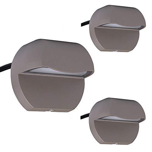 Arrownine Landscape Lighting Cast Aluminum 2.5 Watt Deck LED Lights Low Voltage 12V AC/DC Outdoor Patio Step Light,Post Stair Fence Lighting Soft Warm White Water Resistant IP65,Bronze Finish 3-Pack