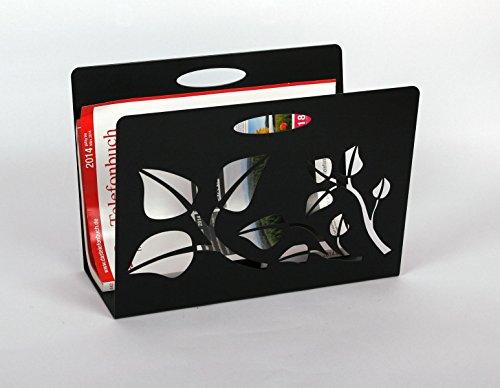 Zeitungsständer, Leaves, HxBxT: 23x32x12 cm, schwarz/Made in Germany, Marke: Szagato (Zeitungshalter, Zeitschriftenständer)
