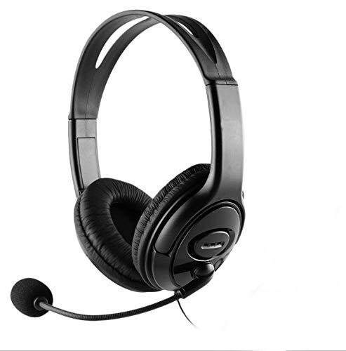 CoolChat U1 – Auriculares para Chat en línea con micrófono, Control de Volumen en Cable, Ligeros, Diadema Ajustable, Cable 2m, conexión USB. para PC, Ordenador portátil
