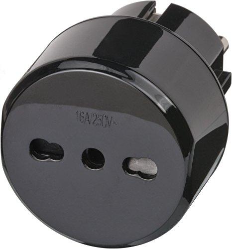 Brennenstuhl Reisestecker / Reiseadapter (Reise-Steckdosenadapter für: Euro Steckdose und Italien Stecker) schwarz