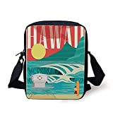 Hawaiian Decorations,Hawaii Sandy Coastline Sunny Day Surfboard Tropics Famous Honeymoon Destination,Sand Teal Print Kids Crossbody Messenger Bag Purse
