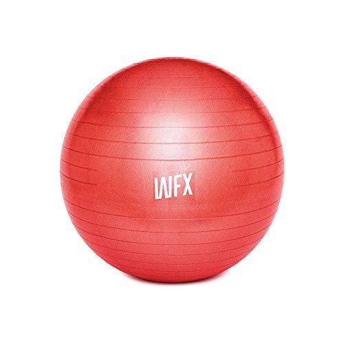 #DoYourFitness x World Fitness Gymnastik Ball Orion Ø 65 cm inkl. Luftpumpe - 100% Berstsicher - 150kg Belastbarkeit - robuster Sitzball, Bürostuhl, Fitnessball - Rot
