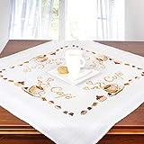 Ernst Schäfer Stickpackung CAFÈ, komplettes vorgezeichnetes Kreuzstich Tischdecken Set, Stickset mit Stickvorlage zum Selbersticken