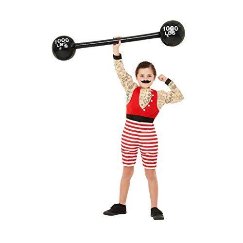 NET TOYS Zirkus-Kostüm Muskel-Mann für Kinder - Rot M, 7 - 9 Jahre, 130 - 143 cm - Außergewöhnliche Jungen-Verkleidung Gewichtheber - Genau richtig für Mottoparty & Kinder-Karneval