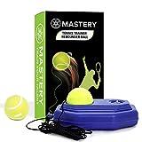 Steelish Tennis Trainer Rebound Ball - Solo Tennis Trainer Tool with Long Rope and 2 Training Balls - Self-Study Power Base Rebounder Tennis Practice Equipment, Tennis Rebound Ball, Blue