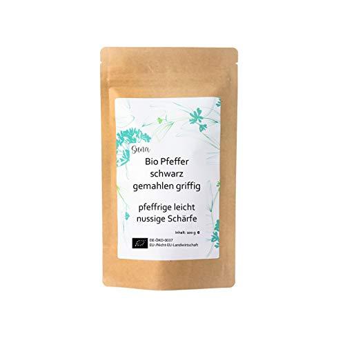 Suna Bio Pfeffer schwarz gemahlen griffig   pfeffrige leicht nussige Schärfe   Päckchen 100 g