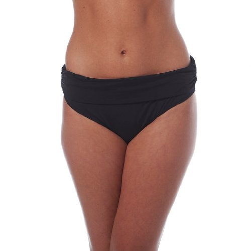 Jones New York Women's Basic Foldover Brief Bikini Bottom, Black, 8