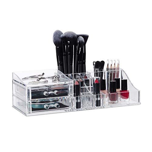 Relaxdays Make Up Acryl, Lippenstifthalter mit 2 Schubladen, Organizer f. Kosmetik, Schmuckkasten, transparent, Kunststoff, H x B x T: ca. 9 x 30,5 x 15 cm