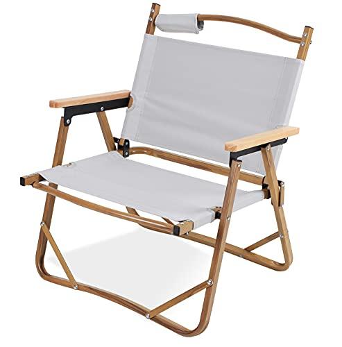 アウトドアクラシック チェア コンパクト折りたたみ キャンプ リラックス椅子 軽量 折りたたみ 椅子、耐荷重120kg 木目調アルミフレームアルミ合金 コンパクトフォールディングチェア ビーチ/庭園/アウトドア/キャンプ 用ポータブル折りたたみチェア(ホワイトグレー)