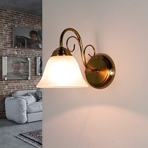 Lámpara de pared rústica Atenen, en latón, pantalla antirreflejante, E14, lámpara de pared para dormitorio