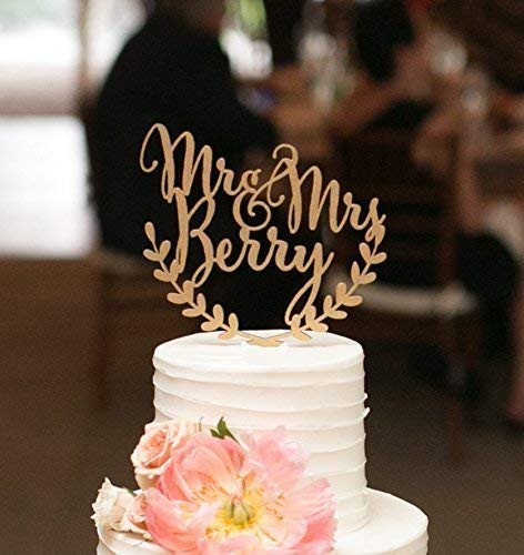 Custom wedding cake topper, personalized cake topper, rustic wedding cake topper, names cake topper, leaf design cake topper