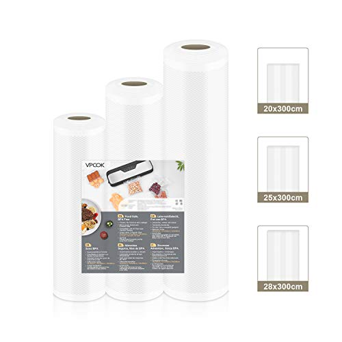 VPCOK Sacchetti per Sottovuoto, Imballaggio Rotoli per Macchine Sottovuoto, 3 rotoli di varie dimensioni per la Conservazione e la Cottura