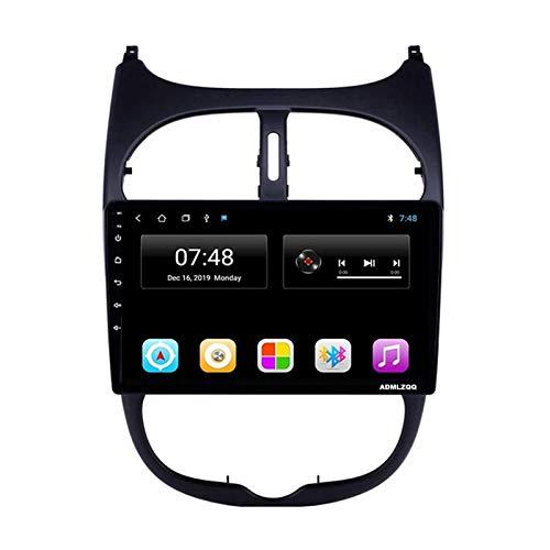WY-CAR Unidad Principal De Reproductor Multimedia Estéreo para Coche con Pantalla Táctil De 10,1 Pulgadas para Peugeot 206 2000-2016, GPS/FM/Bluetooth/Cámara De Visión Trasera/Controles del Volante