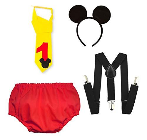 Kembilove Conjunto de Cumpleaños – Conjuntos de Cumpleaños de Mickey para Niños y Niñas – Diseños Bonitos y Divertidos – Accesorio Perfecto para Fotos y Fiestas de Cumpleaños – Conjunto Mickey