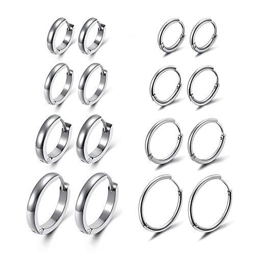 Zysta Huggie - Juego de 8 pares de pendientes de aro unisex de acero inoxidable de 7 a 16 mm de diámetro