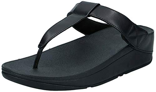 FitFlop Mina Adjustable Toe Post-Leather, Sandalias de Punta Descubierta Mujer, Black (All Black 090), 38 EU
