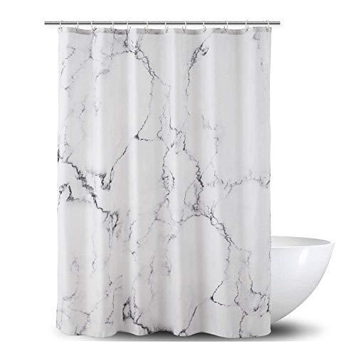 Alumuk Duschvorhang aus Stoff | Wasserdichter Duschvorhang mit verstärktem Saum | waschbarer Textil Duschvorhang in der Größe 150 cm x 180 cm | Polyester Marmor