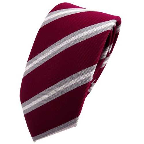 TigerTie - corbata estrecha - rojo violeta burdeos gris plata rayas