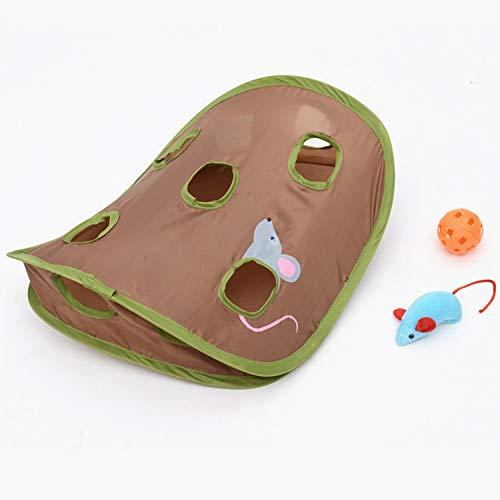 ZZjingli Lustige Katzen-Spielzeug-Maus-Loch-Stick mit Glocken Grasping Interactive Mäusejagd Katzenspielzeug