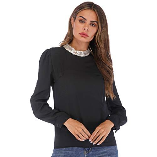 iFRich Damen-Blusen, einfarbig, Tunika, Oberteil, langärmelig, lockeres Hemd, Büroarbeit, Vintage, Ladi-Bluse mit rundem Pailletten-Kragen Gr. Small, Schwarz