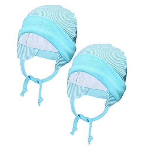 TupTam Baby Erstlingsmütze mit Ohrenklappen 2er Pack, Farbe: Streifenmuster Türkis, Größe: 50/56