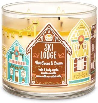 White Barn Bath Body Works 3 Wick Candle Hot Coco Cream Ski Lodge product image