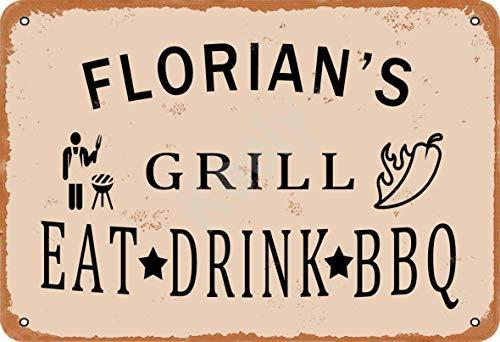 Keely Florian'S Grill Eat Drink BBQ Metall Vintage Blechschild Wanddekoration 12x8 Zoll für Café, Bar, Restaurant, Pubs, Männerhöhle, Dekorativ