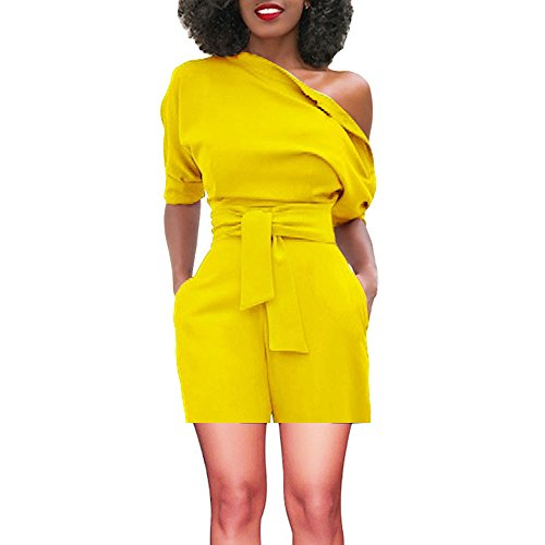 TOTOD Rompers for Women, Summer Sexy Off Shoulder Ruffle Shorts Fashion Short Sleeve Jumpsuits with Pockets(Yellow,L)