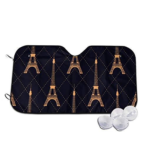 Rterss Art Deco Naadloos Patroon Eiffeltoren Gouden Kleur Plaatsen Voorruit Zonneschaduw Voorruit Glas Voorkomen De Auto Van Verwarming In Aangepaste