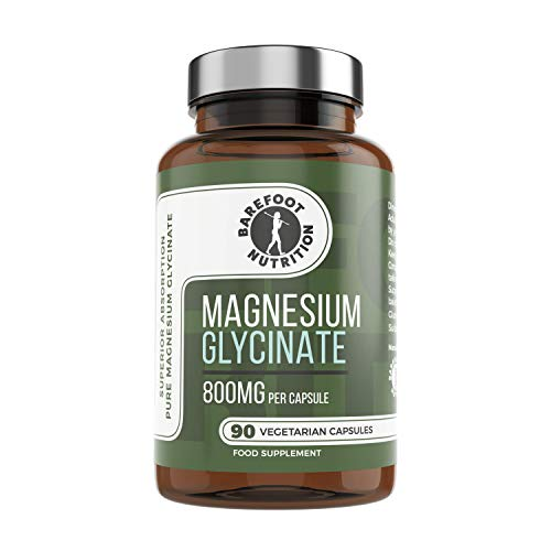 Barefoot Nutrition Magnesium Glycinate Supplement 800mg - 90 x 1-to-3 a Day Capsules. Pullulan Capsule - Superior Absorption: no Synthetic Binders or additives. Vegan & Paleo Friendly