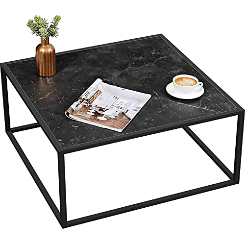 SAYGOER Coffee Table Small Modern Marble Coffee Table Square Simple Center Tables for Living Room Home Office, Black