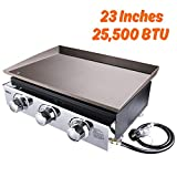 TACKLIFE 23-inch Propane Gas Griddle, 3 Burners, 25500 BTU, 355 sq. inches, Stainless Steel, for Outdoor Cooking While Having a Party, Camping, or Picnicking