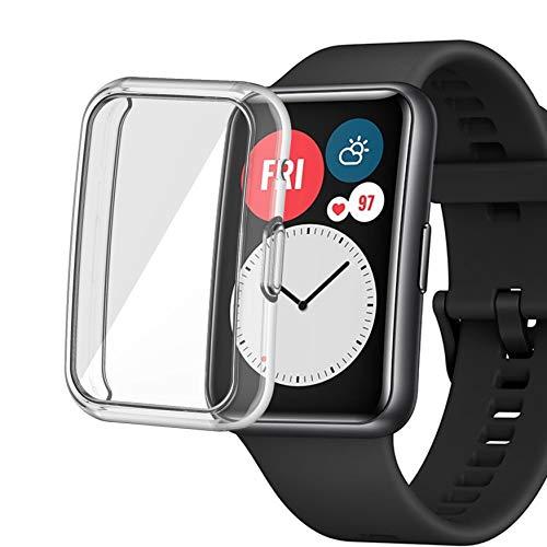 sciuU Cover Protettiva per Huawei Watch Fit Smartwatch, Custodia con Protezione di Schermo in TPU Flessibile, Morbida Copertura Cornice Resistente per Huawei Fit - Chiaro