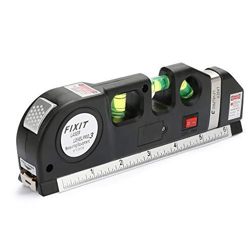 Bestcool Mehrzweck-Messwaage, 3 Modi Wasserwaage mit doppelseitigem Messlineal und 2,5 m Maßband, 45 Grad Wasserwaage, DIY Messwerkzeug (Batterie im Lieferumfang enthalten)