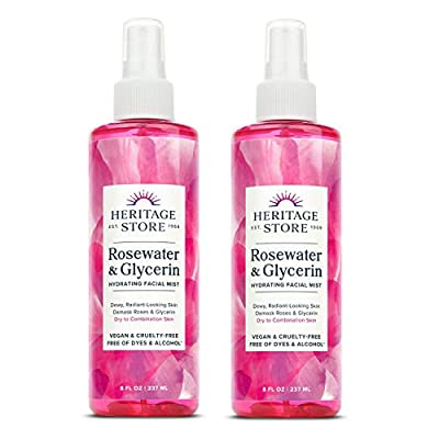 Heritage Store Rosewater with Glycerin   100% Pure Vegan   Benefits Skin, Hair and More   Facial Toner and Moisturizer   Mist Spray, 8 Fl Oz (Pack of 2)