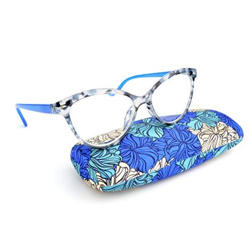 Newvision - Gafas de lectura para mujer, barras con bisagras con resorte, gafas de lectura presbibia, gafas premontadas, montura de ojo de gato y ligera, moda cómoda con funda, NV3145 (+1,50, azul)
