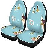 Car Seat Covers Vista Superior De Vacaciones De Verano Gente Nadando Relax Have Fun Juego De 2 Protectores De Coche Universal