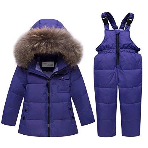 Petit Unisexe Bébé Deux Pièces Puffer Bas Hiver Chaud Habineige Veste Salopette Ski Neige Blue-Label 120/Height 115-125 cm
