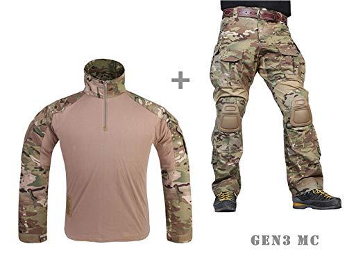 Paintball Equipment Tacticam bdu Emerson Combat G3 Uniform mit Knieschoner Multicam MC, multicam, Medium
