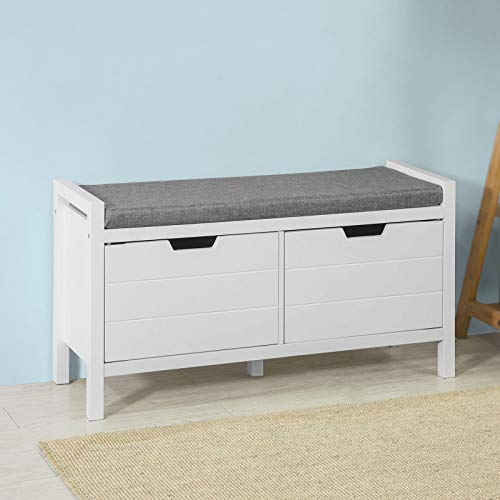Haotian FSR63W White Shoe Bench Shoe Rack Shoe Cabinet Hallway Storage Bench with Seat Cushion