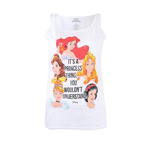 Disney A Princess Thing Débardeur, Blanc, M Femme