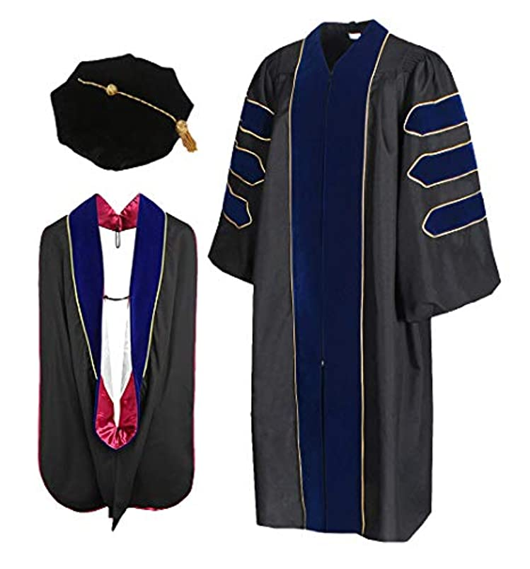 Cap and Gown Direct Royal Blue Doctoral Graduation Gown with Red Piping Hood(Roy-mm-gld) and 8-Sided Tam Package sz144314996