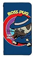 [AQUOS zero5G basic DX SHG02] ベルトなし スマホケース 手帳型 ケース アクオス ゼロファイブジー ベーシック ディーエックス エスエイチジーゼロニ 8308-C. BOSS PUG かわいい 可愛い 人気 柄 ケータイケース ヌヌコ 谷口亮
