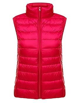 Yeokou Womens Slim Packable Lightweight Quilted Short Puffer Down Vest Waistcoat Red