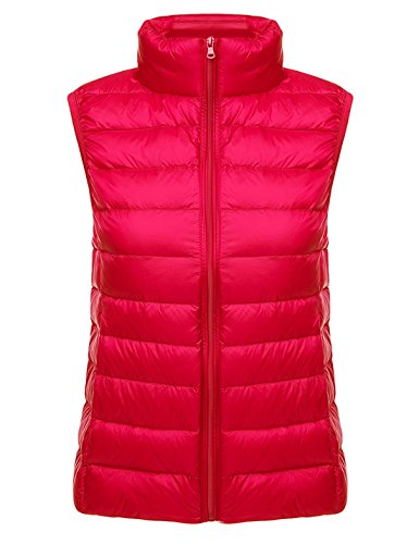 Yeokou Womens Slim Packable Lightweight Quilted Short Puffer Down Vest Waistcoat Red