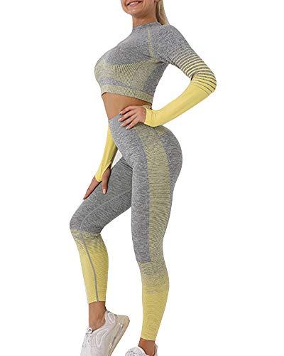 YOUCAI Mujer 2 Piezas Gradient Conjunto de Ropa de Yoga Tejido de rayas sin costuras Traje de Chándal de entrenamiento para correr Ropa deportiva atlética Tops cortos & Fitness Leggings Amarillo M