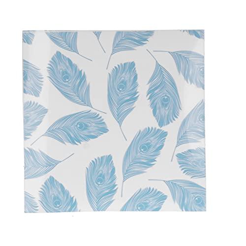 10 piezas de hoja adhesiva para azulejos, pluma azul como patrón, calcomanía de pared para decoración de pared, para el hogar, baño, cocina, sala de estar, PVC, autoadhesivo, para pasillo, piso, 20x20