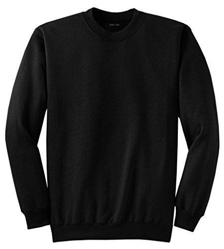 Joe's USA- Men's Tall Ultimate Crewneck Sweatshirt-Black-2XLT