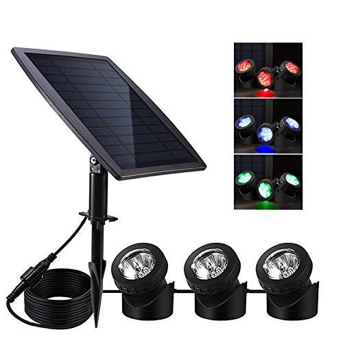 Solar Pond Lights,Solar Powered Spotlights Upgraded Amphibious Lighting Land/Underwater IP68...